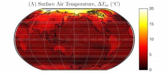1980-1999 년의 표면 대기 기온과 2080-2099 년의 기온 변화 예측치를 보여주는 그림. Credit: Timothy Cronin