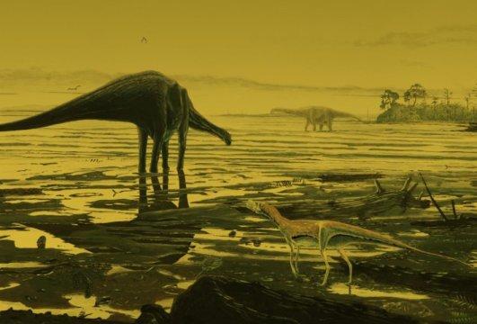 스카이 섬의 용각류 공룡 복원도. Credit: Jon Hoad