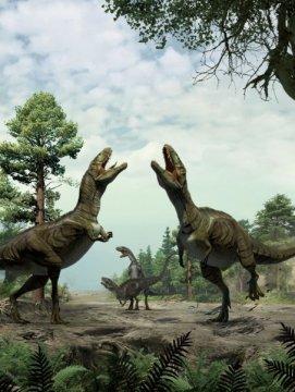 성적 과시 행동을 하고 있는 공룡들의 복원도. 리다 싱과 유장 한의 그림. Credit: University of Colorado Denver